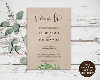 DIY Save the Date, Wedding Printable, Save the Date Template Wedding, Save the Date, Save the Date Cards, Greenery Wedding Card, Rustic, 044