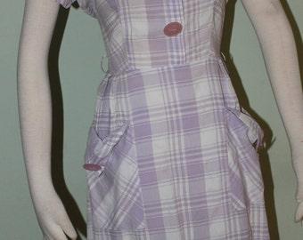 """32"""" waist, Purple plaid day dress, vintage 1950's"""