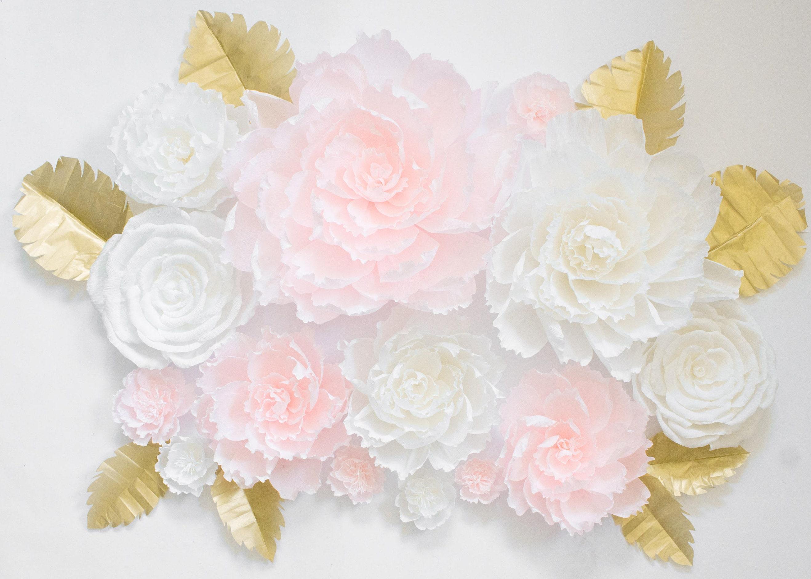 14 Paper Flowers, Paper Flower Backdrop, Nursery Wall, Baby Shower ...