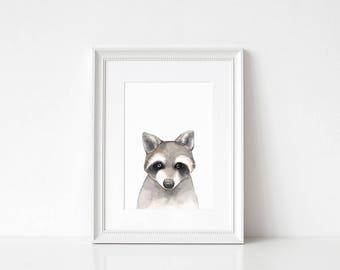 Raccoon Prints // Raccoon Gifts, Raccoon Wall Art, Black and White Nursery Art, Animal Nursery Art, Printable Wall Art, Printable Art