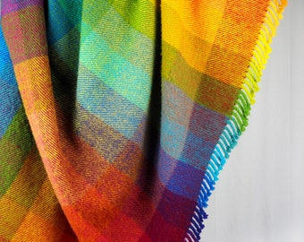 RAINBOW BLANKET, throw, different sizes, rainbow gradient, handwoven, warm, new wool