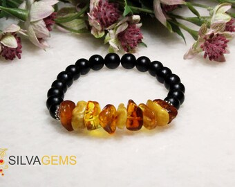 Rare Natural Raw Untreated Three Colour Brown Gold Milky Amber and Matte Black Onyx Gemstone Beaded Stretch Bracelet. Amber Jewellery.
