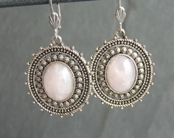 Vintage quartz earrings pink