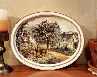 Large vintage tin with removable tray top.  Currier and Ives Sunshine biscuits tin. Vintage metal tin