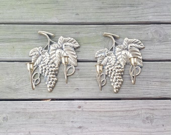 Pair of large vintage brass wall sconces.  Retro 2 candle grape bunch wall sconce.