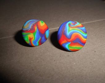 Rainbow swirl large stud earrings/ Marble effect earrings/ Rainbow studs/ Psychedelic rainbow earrings/ Trippy hippy earrings