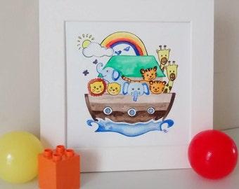 Noah's ark painting, original watercolour, nursery art, Noah's ark nursery, nursery decor, baby gift, bible story art, baby animal artwork