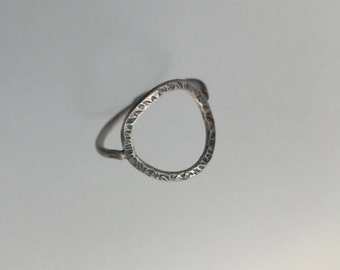 Textured Oxidised Silver Circle Ring