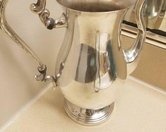 Antique Silver on Copper Teapot Vase