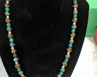 Green and bronze beaded necklace