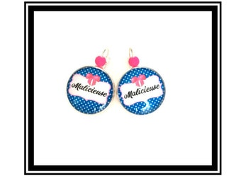 """Original earrings & single """"mischievous"""" personalized, derision, blue, pink, polka dots, bow, humor"""