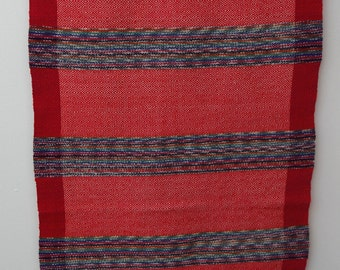 Red cotton/wool table runner