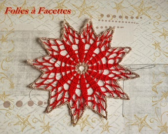 Christmas red and gold crochet star doily