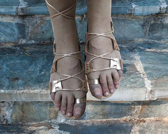 Sandals Womens,Leather Sandals,Womens Sandals,Handmade Sandals, Lace up  Sandals,Greek Sandals,Gladiator Sandals,Rose Gold Sandals, CARYATIS