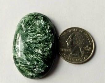 42.30 x 27.80mm,Ovel Shape Seraphinite Russian cabochon /Attractive  Seraphinite/wire wrap stone/Super Shiny/Pendant Cabochon/Semi Precious