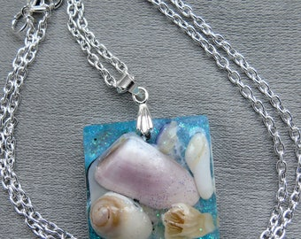 Square crystal resin pendant with shells collected from Scottish beaches