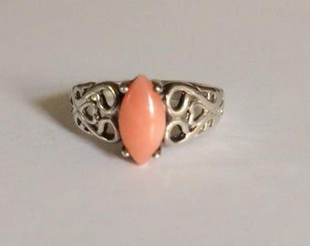 Vintage sterling silver angel skin coral promise ring size 6.