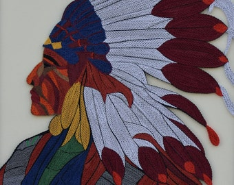 "Native American - Quilling Wall Art Painting - 1/8""(3mm) paper strips"