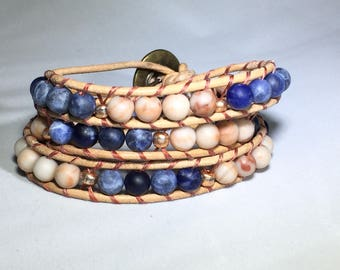 3 wrap, leather and bead bracelet, button closure