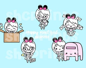 Happy Mail Girl Digital Clipart
