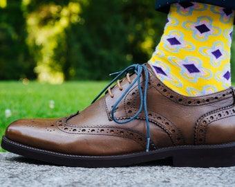 Socks for Men | Dress Socks | Groomsmen Socks | Groom Socks | Wedding Socks | Cotton Socks | Colorful Men Socks | Purple and Yellow Socks