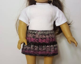 "Purple/Gray Knit Doll Skirt - Hand-made to fit like American Girl Doll Clothes - 18"" Doll Clothes - Knit Doll Clothes"