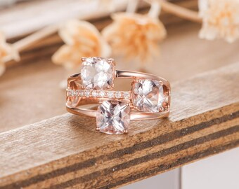 Unique Morganite Engagement Ring Rose Gold Cushion Cut Solitaire 3 Band Diamond Bridal Women Ring Unique Antique Wedding Anniversary Ring