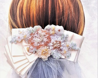 Blush Wedding Hair Comb / Boho Wedding Hair Comb / Crystal Beaded Wedding Headband / Floral Bridal Hairpiece / Pink Wedding Hair Comb