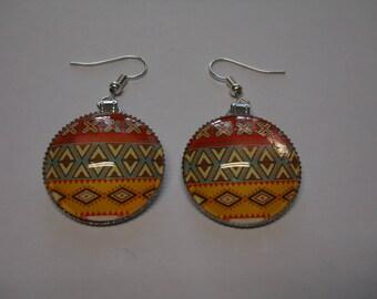 Women gift, girl gift, Cabochon earrings, multicolor, inca style earrings