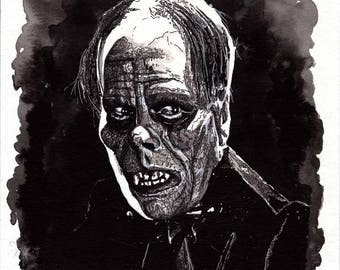 Art Print of pen/Ink painting by Raquel Gomes, of Lon Chaney as The Phantom in the movie The Phantom of the Opera (1925).