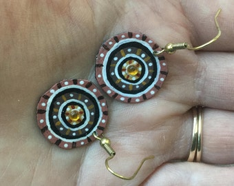 Concentric Circle Design Brown Hand Painted Earrings