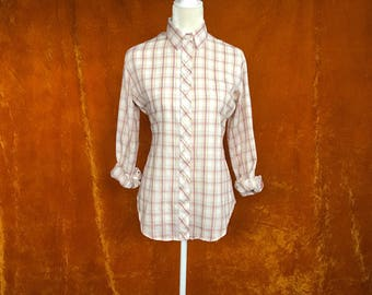 Vintage 1970s, Plaid Blouse, Long Sleeved Shirt