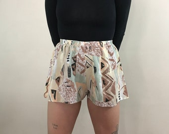 Vintage 1980s High Waisted, Extra Small, Altered, Patterned Short Summer Shorts