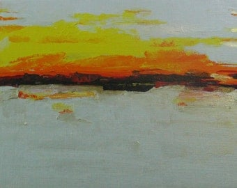 Acrylic Painting ABSTRACT LANDSCAPE Yellow & Gold Original on Canvas Artwork Original