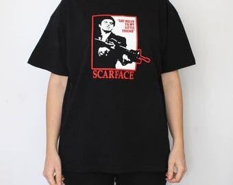 Scarfase T-shirt - movie shirt - say hello to my little friend tshirt - fotl black T - al pacino Tony montana - fruit of the loom - size XL