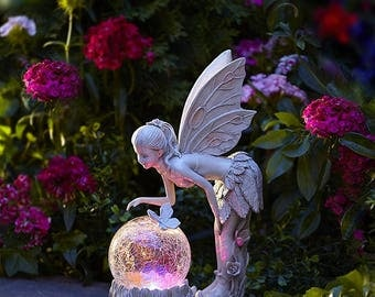 Tinkerbell Figurine Statue Indoor Outdoor Garden Decor Solar Light With  Globe