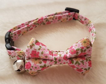 Handmade Cat Collar With Bow - Pink Ditsy, Safety Release Buckle, Adjuster and Bell