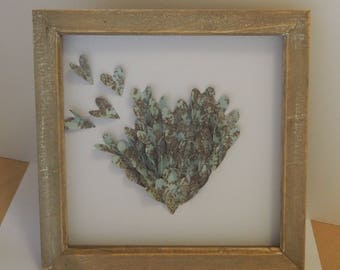 Heart Picture,Box Framed,Mothers Day Gift , Gift for her,Gift for him,Vintage,