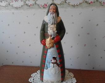 Ceramic Snowy Scene Santa