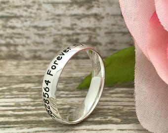 4mm Titanium Ring, Personalized Titanium Wedding Band, Anniversary Rings, Gift for Him,Gift for Her, Promise Ring, Purity Ring SHJTRB156