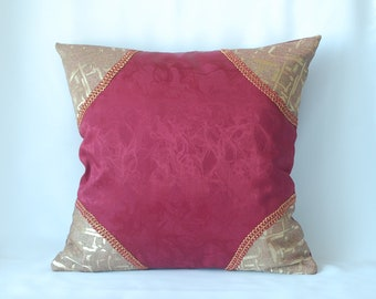 With golden patch decorative throw pillow cover, burgundy original cushion 16x16 couch pillow with braid vinous and gold.