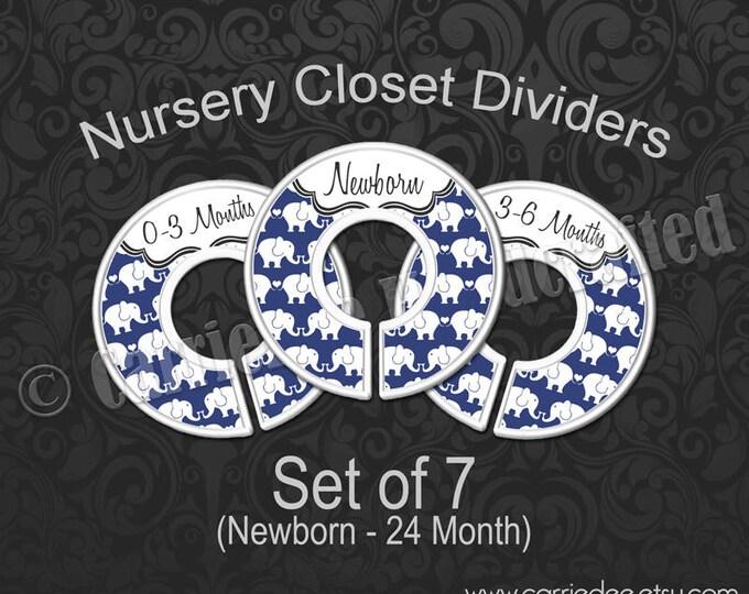 Navy Blue Elephants Nursery Closet Dividers, Baby Closet Dividers, Elephant Baby Decor, Baby Shower Gift, Baby Boy Gift