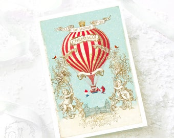 Christmas card, I'll be home for Christmas, hot air balloon, cherubs, Paris, snow scene, French holiday card