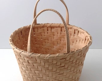 Handmade Reed Basket | Easter Basket | Tote Basket with Two Handles | Market Basket | Handwoven Undyed Basket | Rustic Country Home Decor