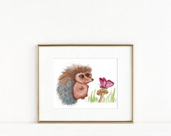 Hedgehog Watercolor, Woodland Nursery Decor, Baby Girl Nursery, Woodland Nursery Art, Hedgehog and Butterfly Art Print