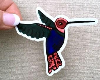 Sweet Hummingbird Sticker, Waterproof Vinyl Sticker, Bird Decal, Laptop Sticker Art