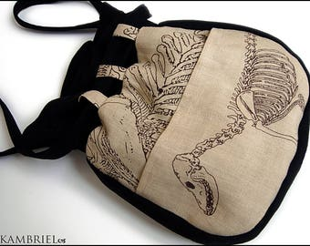 Bag of Bones - One of a Kind Purse by Kambriel - Skeleton Canvas and Black Wool, Lined in Black Brocade - Brand New & Ready to Ship!