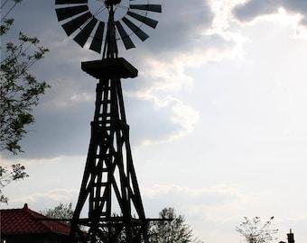 Wooden Windmill Silhouette Photograph - Missouri Farm Sunset Photo Art - Restful Americana Wall Art - Blue Lilac Sunset Sky - Soothing
