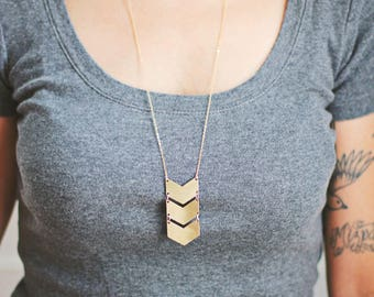 Geometric Triple Chevron Necklace | Brass | 14k Gold Filled | Sterling Silver