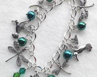 Hummingbirds & Dragonflies Charm Bracelet. Hummingbirds. Dragonflies. Charm Bracelet. BC 14